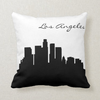 Black and White Los Angeles Skyline Throw Pillow