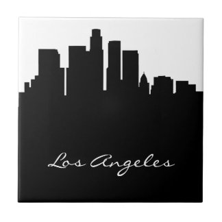 Black and White Los Angeles Skyline Tile