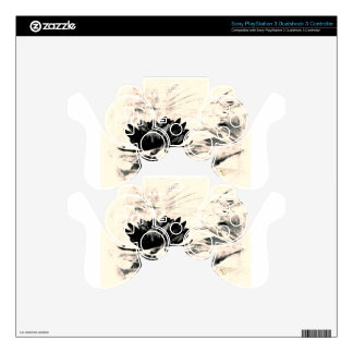 Black and white lotus gifts decal for PS3 controller