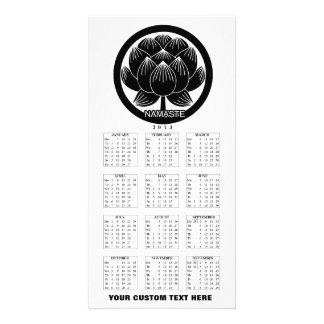 Black and White Lotus Namaste 2013 Calendar Card