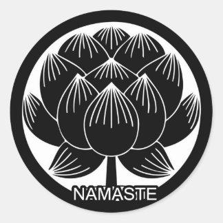 Black and White Lotus Namaste Classic Round Sticker