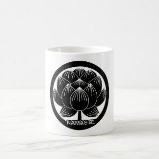 Black and White Lotus Namaste Coffee Mug