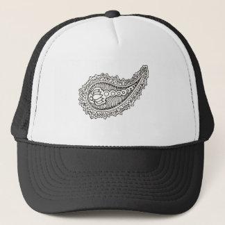 Black and white lotus paisley trucker hat