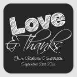 Black And White Love And Thank You Chalk Text Square Sticker