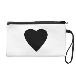 Black and White Love Heart Design. Wristlets