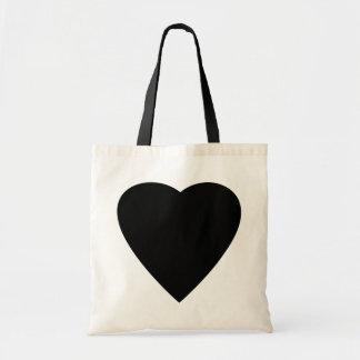 Black and White Love Heart Design. Budget Tote Bag