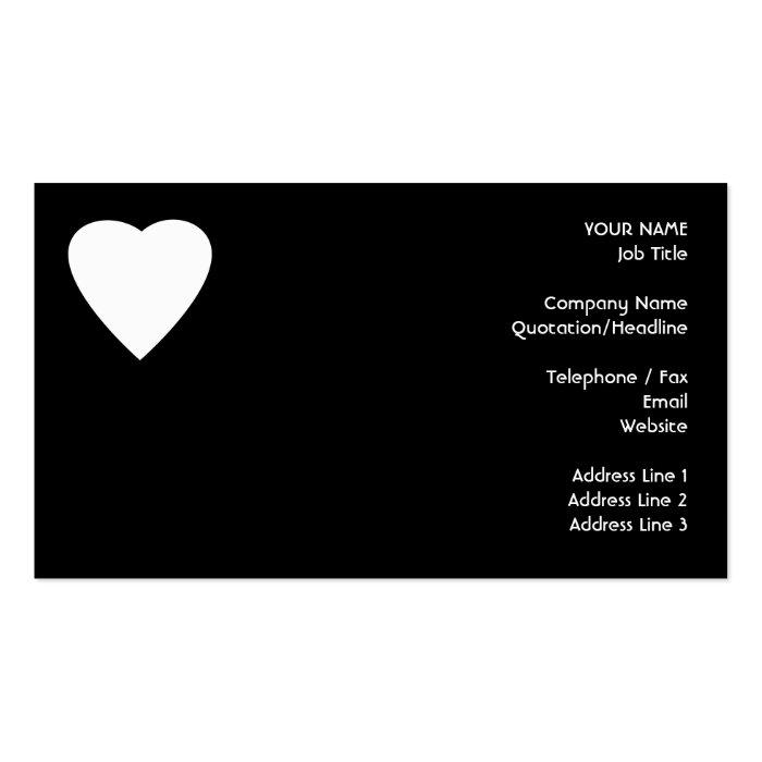 Black and white love heart design business card zazzle for Black and white business card design