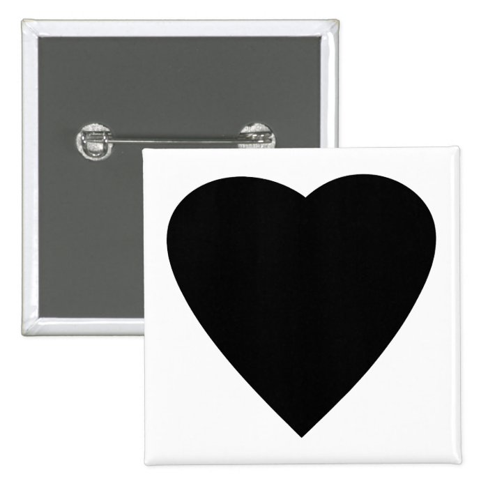 Black and White Love Heart Design. Button
