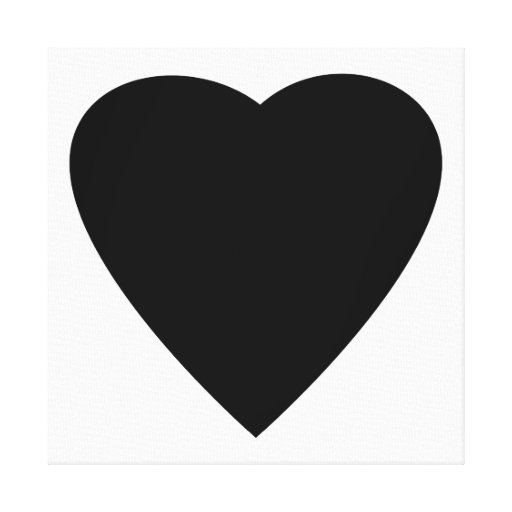 Black and White Love Heart Design. Stretched Canvas Print ...