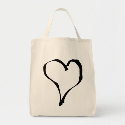 Black and White Love Heart Design. Canvas Bags