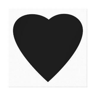 Black and White Love Heart Design. Canvas Print