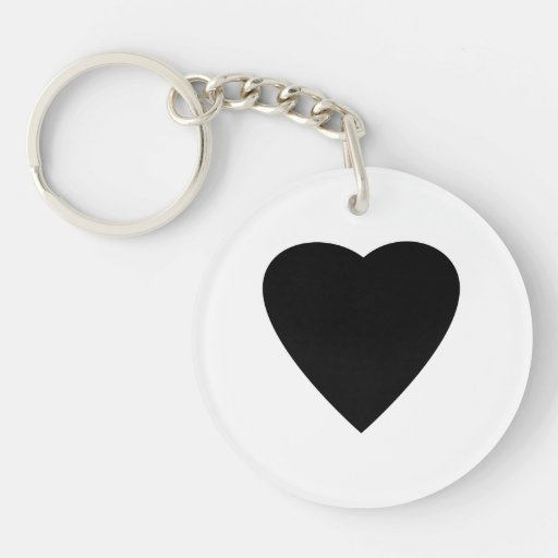 Black and White Love Heart Design. Double-Sided Round Acrylic Keychain