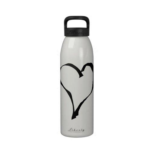Black and White Love Heart Design. Drinking Bottle