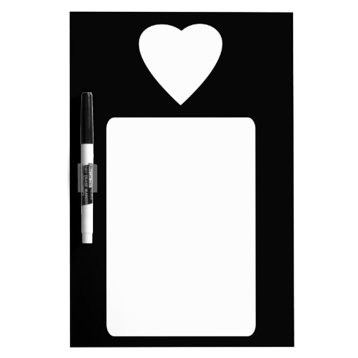Black and White Love Heart Design. Dry-Erase Whiteboards