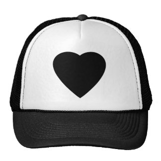 Black and White Love Heart Design. Mesh Hats