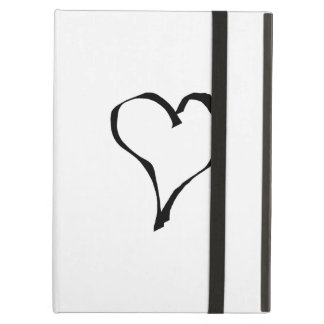 Black and White Love Heart Design. iPad Cases