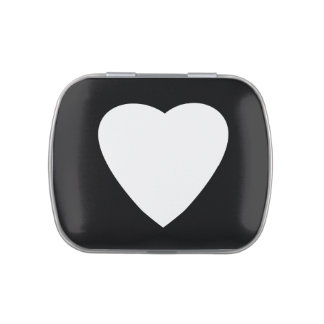 Black and White Love Heart Design. Jelly Belly Tins