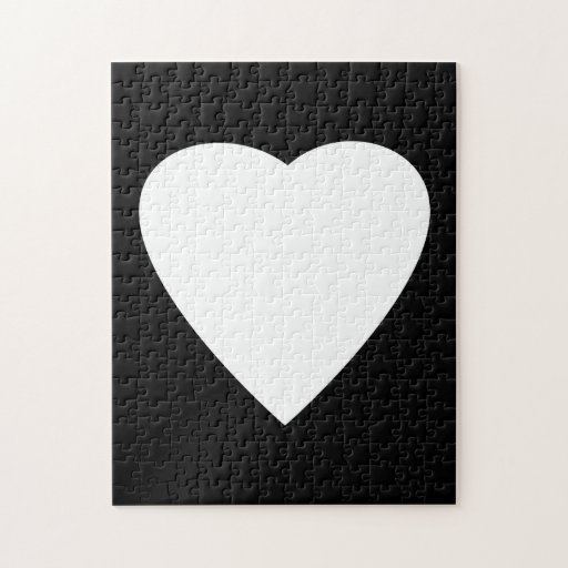 Black and White Love Heart Design. Jigsaw Puzzle | Zazzle