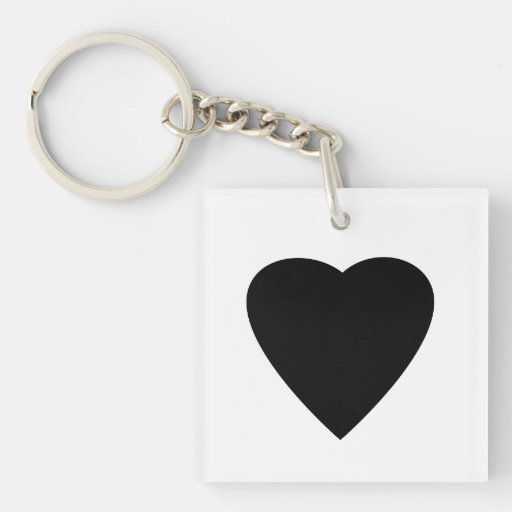 Black and White Love Heart Design. Acrylic Keychains