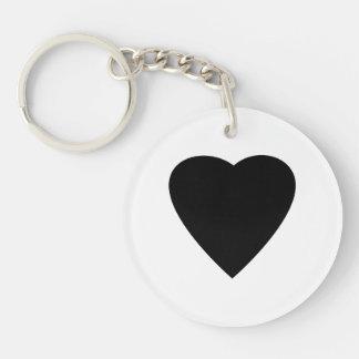Black and White Love Heart Design. Round Acrylic Keychain