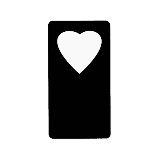 Black and White Love Heart Design. Label
