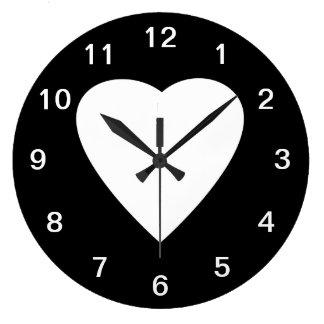 Black and White Love Heart Design. Large Clock