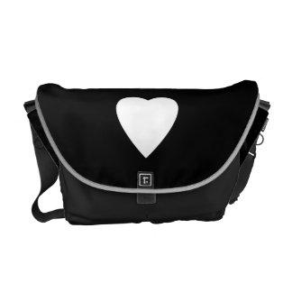 Black and White Love Heart Design. Messenger Bag
