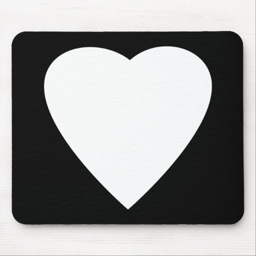 Black and White Love Heart Design. Mouse Pad