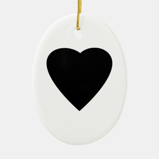 Black and White Love Heart Design. Christmas Tree Ornaments