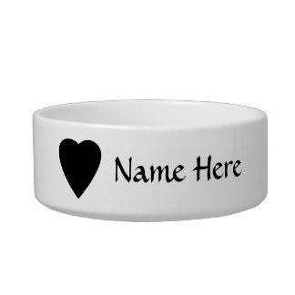 Black and White Love Heart Design. Pet Bowl