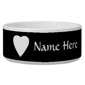 Black and White Love Heart Design. Dog Food Bowls