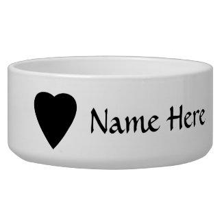 Black and White Love Heart Design. Dog Bowls