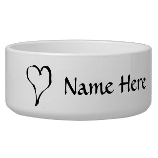 Black and White Love Heart Design. Pet Water Bowls