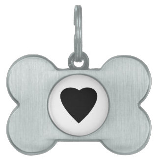 Black and White Love Heart Design. Pet Tag