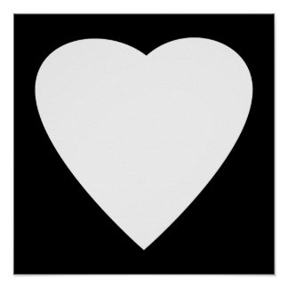Black and White Love Heart Design. Posters