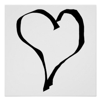 Black and White Love Heart Design. Print