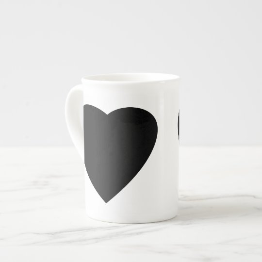 Black and White Love Heart Design. Tea Cup