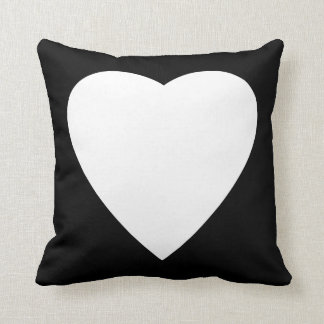 Black and White Love Heart Design. Throw Pillow