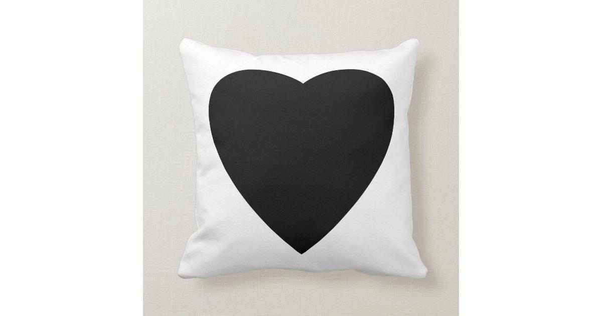 White Heart Throw Pillow : Black and White Love Heart Design. Throw Pillow Zazzle