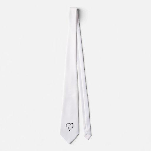 Black and White Love Heart Design. Tie