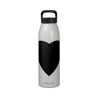 Black and White Love Heart Design. Water Bottle