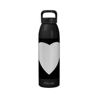 Black and White Love Heart Design. Water Bottles