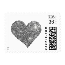 black and white love heart postage
