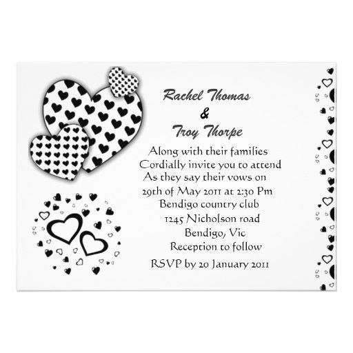 Black and white love heart wedding invitation