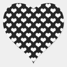 Black And White Love Hearts Sticker