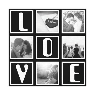 Black and white love photo collage canvas print