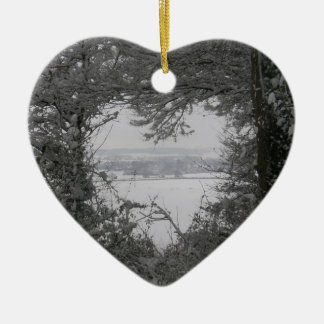 Black and White Love Snow Heart Photo Christmas Ho Double-Sided Heart Ceramic Christmas Ornament