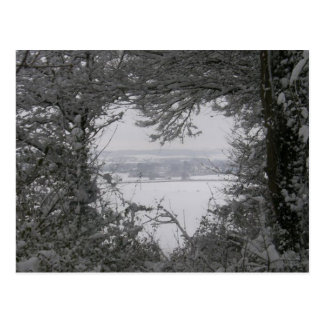 Black and White Love Snow Heart Photo Christmas Post Cards