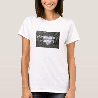 Black and White Love Snow Heart Photo Christmas T-Shirt