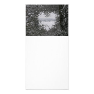 Black and White Love Snow Heart Photo Holiday Card